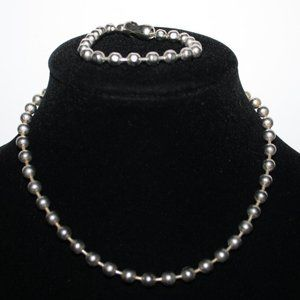 90s/00s silver ball necklace and bracelet set